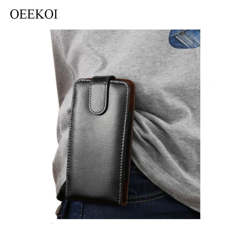 Oekoi Funda de cuero genuino con Clip para cinturón para LG Q9/V40 ThinQ/G7 Plus/ajuste G7/G7 One/X Power 3/X5 2018/G7 ThinQ