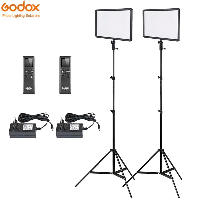 2x Godox Ultra delgado LEDP260C 256 Uds Panel de luz de vídeo LED Kit de iluminación + 2m Stand + controlador 30W 3300-5600K brillo regulable