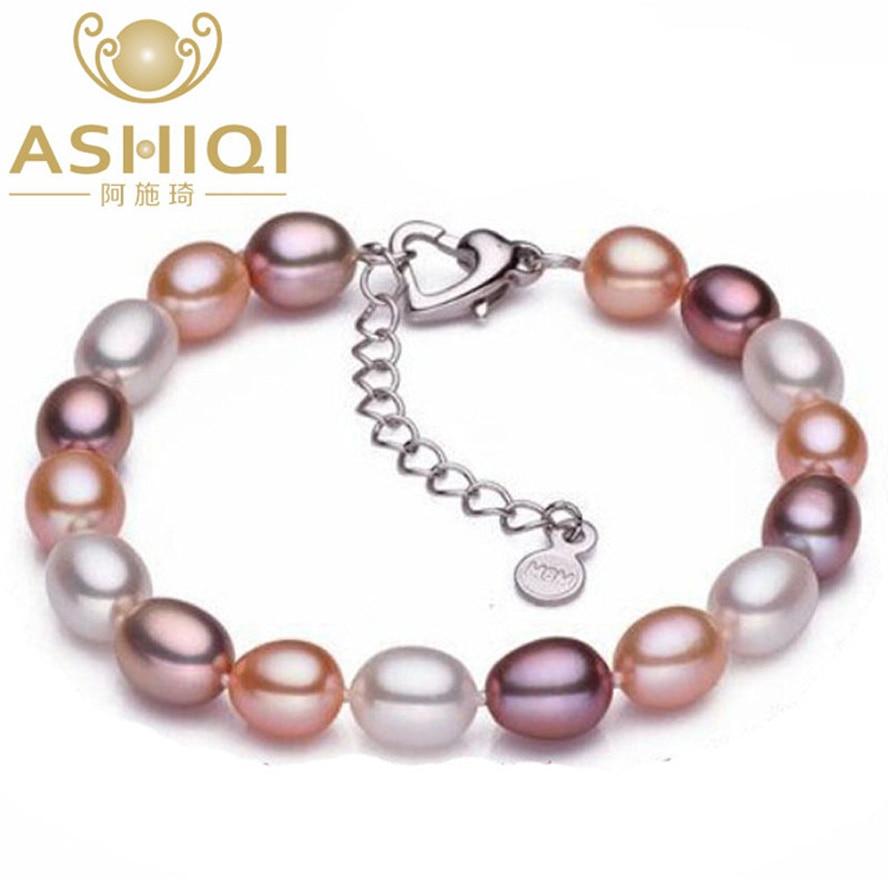 Pulseras de perlas de agua dulce de ASHIQI genuinas, perlas naturales de 6-7mm, abalorio para mujeres, regalo de joyería