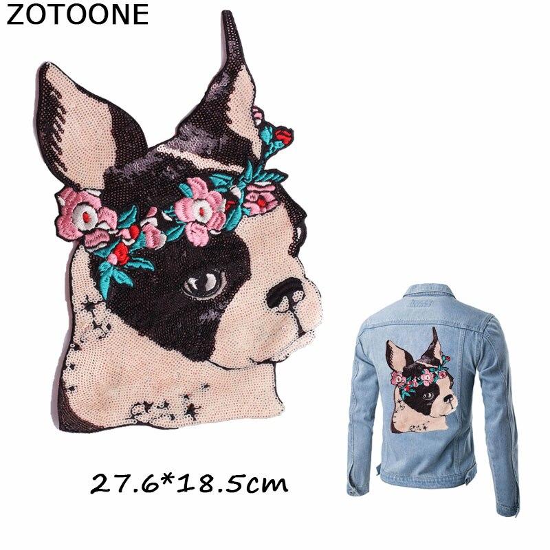 ZOTOONE adorables parches para coser con lentejuelas de flores para perros, parches para ropa bordados, apliques para ropa DIY, ropa de parche de bordado E