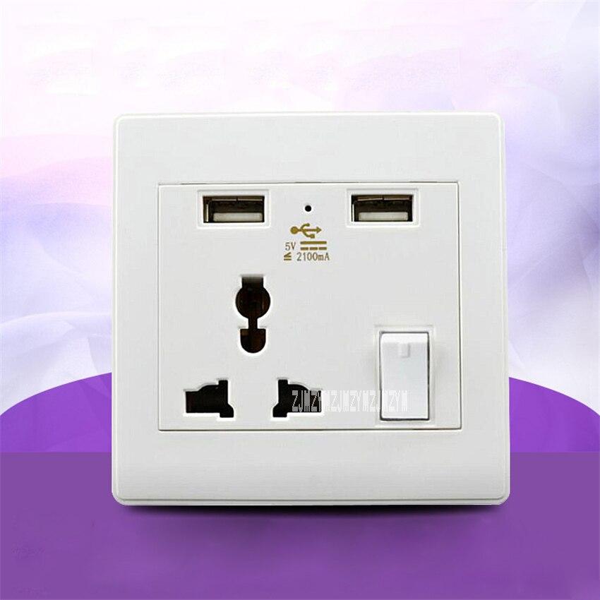 20 قطعة/الوحدة متعددة الوظائف ثلاثة حفرة مقابس جدارية مع 2 USB 5 فولت/2100mA شاحن مقبس مناسب لجميع الأنواع التبديل لوحة امدادات الطاقة DDS1000