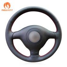 MEWANT Black Artificial Leather Steering Wheel Cover for Volkswagen VW Golf 4 Passat B5 Polo MK6 Seat Leon 1M Skoda Fabia 1