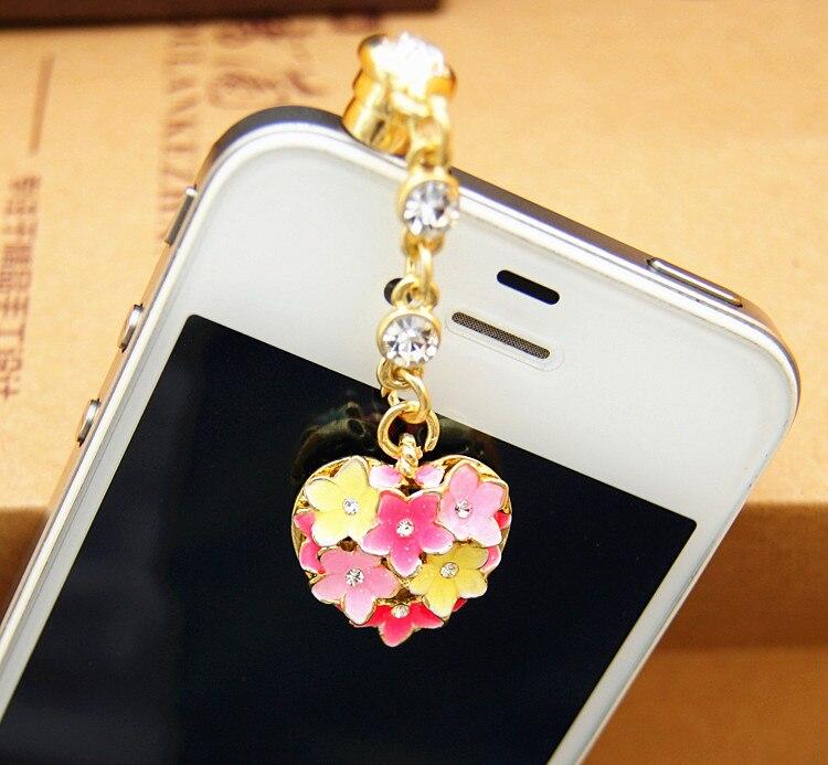 Delicadas gotas de aceite colorido flor y corazón diseño Anti polvo enchufe para Iphone6 para Samsung y todos 3,5mm auricular tapón de polvo