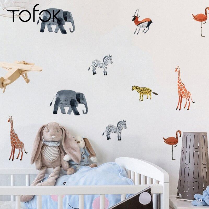 Tofok 24pcs Scandinavian Style Wall Stickers Cartoon Animals Wall Decal Living Room Bedroom Classroom Wall Decor High Quality