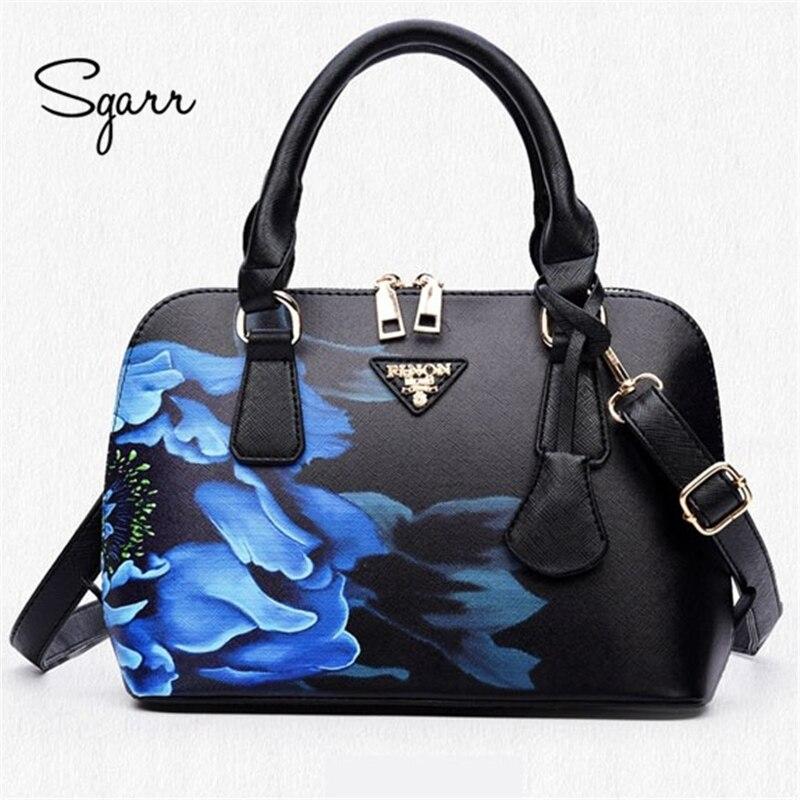 Sgarr mulher bolsa de couro de luxo bolsas de couro totes mais novo china preto mulher saco crossbody impressão floral concha saco