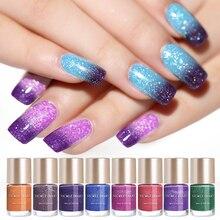 NICOLE agenda 9ml vernis à ongles thermique brillant paillettes chatoyant violet couleur changeante à base deau vernis à ongles