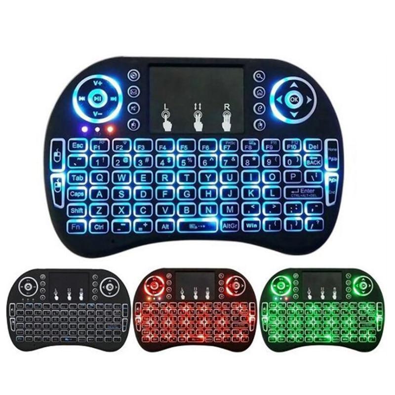 I8 Mini 2,4G teclado inalámbrico Touchpad Color retroiluminada Air Mouse ruso español para Android TV caja Xbox Smart PC TV PS3/PS4 HTPC