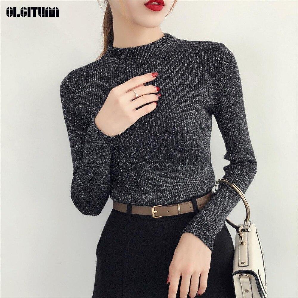 Nuevo 2020 Otoño e Invierno suéter delgado de medio cuello suéter de punto de Seda brillante femenino suéter de manga larga de fondo Jumpers mujeres