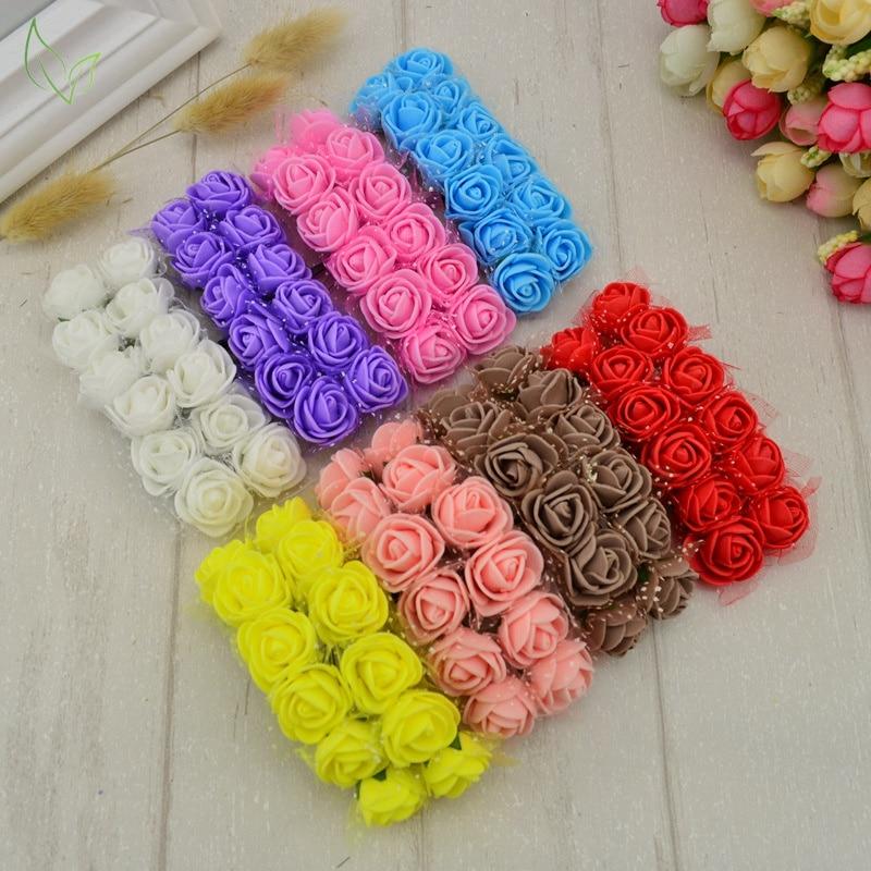 12 pcs Rose Fake Flower PE Foam Artificial Flowers cheap For home Wedding Decoration DIY Wreath Gift box scrapbooking needlework
