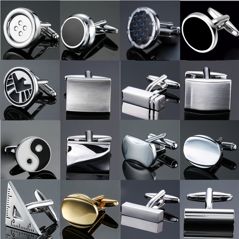 sagittarius brass steel stoving varnish cufflinks for men black silvery pair Classic design men's French shirt cuff button high quality copper silvery metallic Black Enamel CuffLinks