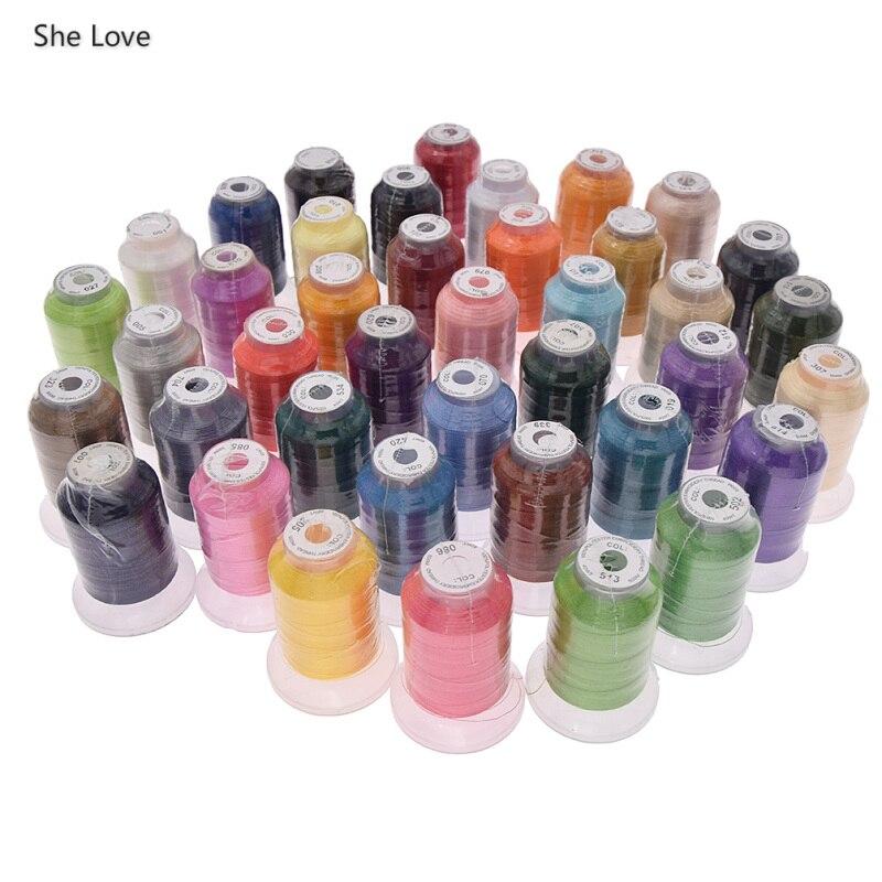 Chzimade 40 colores 120D/2 hilo de poliéster Set para bordado costura de bricolaje hecha a mano materiales accesorios