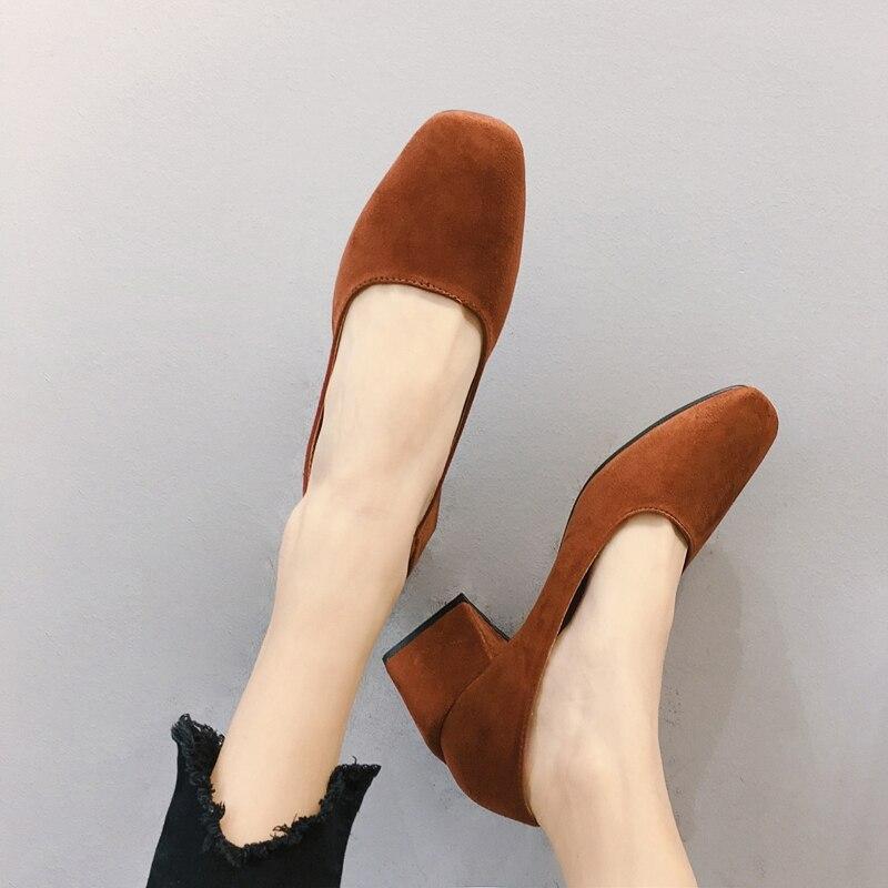Eoeoodoit, zapatos de tacón de punta cuadrada para mujer, Primavera Verano, tacón medio, zapatos de tacón de moda para mujer, zapatos de tacón de 5 CM