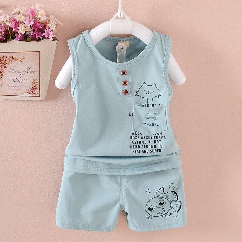 2017 NOVEDAD DE VERANO ropa de los niños conjunto 100% de algodón Chaleco de bebé de dibujos animados traje de 1-5 años niños niñas conjuntos de ropa de bebé trajes de bebé