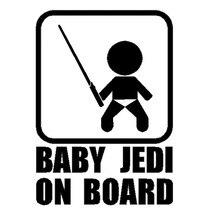 10.7*15CM bébé JEDI à bord voiture style autocollant Cool bébé prendre lépée drôle voiture queue décalcomanie noir/argent C9-0013