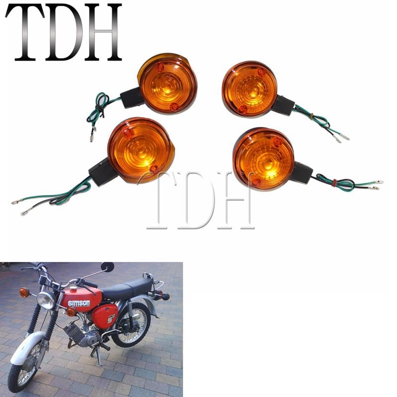 4 шт. мотоциклетные передние и задние поворотные Огни мигалка Янтарные линзы для Simson S50 S51 S70