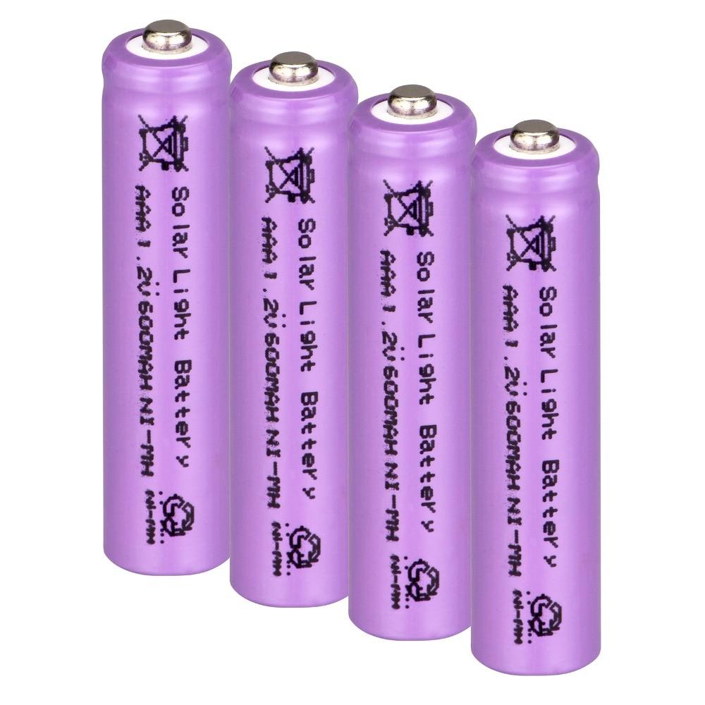 4 pcs AAA solar battery Solar Light Battery Rechargeable battery 1.2V 600mAh For Garden Lights-purple color