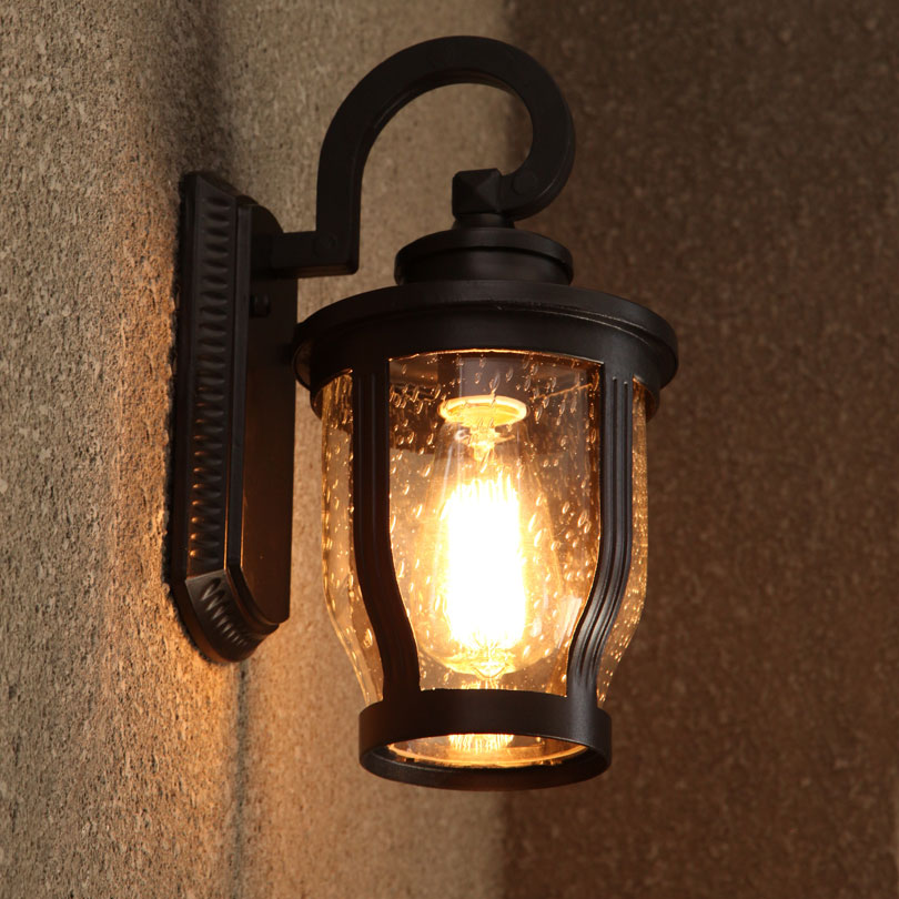 Vintage Black Painted Metal Glass Wall Lamp Waterproof Antirust Wall Sconce with Edison Bulb Outdoor Courtyard Garden european wall lamp led outdoor wall sconce lighting waterproof garden wall lights fixtures aluminum glass vintage porchlights