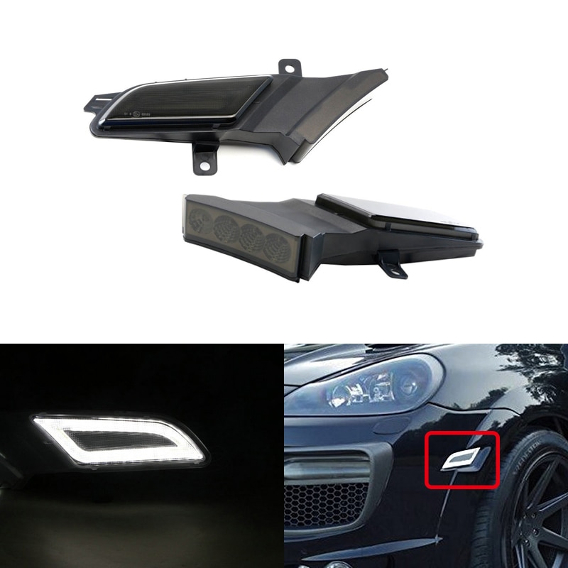 Smoke Amber/White Switchback Led Side Marker Light W/ Position Running Lights For Porsche Cayenne 957 2007-2010 Car-Styling