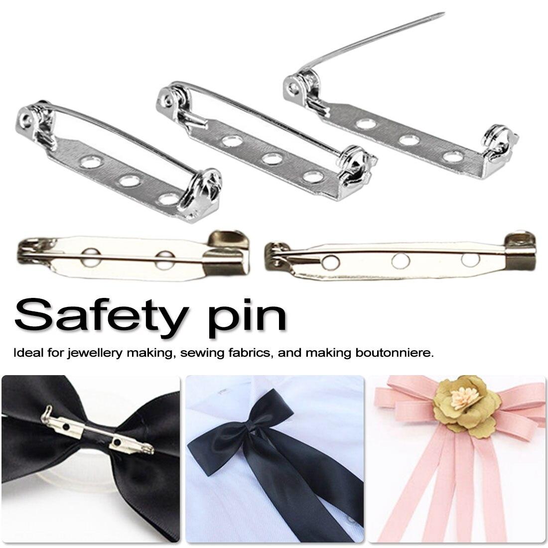 10 pçs/set/base de broche 25mm-40mm metal pinos voltar barra de volta titular emblema segurança bloqueio broche pinos diy jóias acessórios peças
