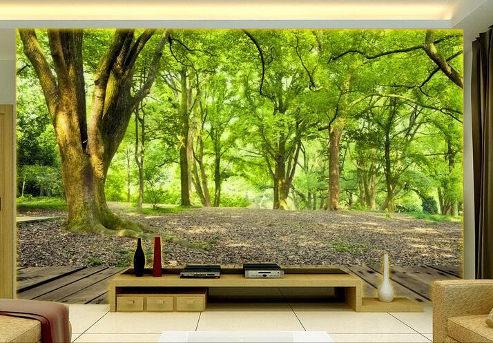 Papel pintado 3d con foto personalizada, fondo moderno con pintura de bosque verde, decoración del hogar, Mural 3d, papel tapiz para sala de estar