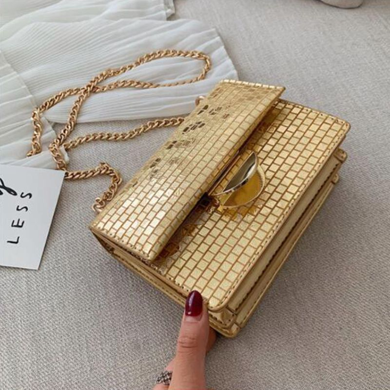 Saco De Manta de Couro PU para As Mulheres 2019 Bolsas De Luxo Mulheres Sacos Designer de Cadeias de Moda Pequeno Ombro Crossbody Saco De Ouro Prata