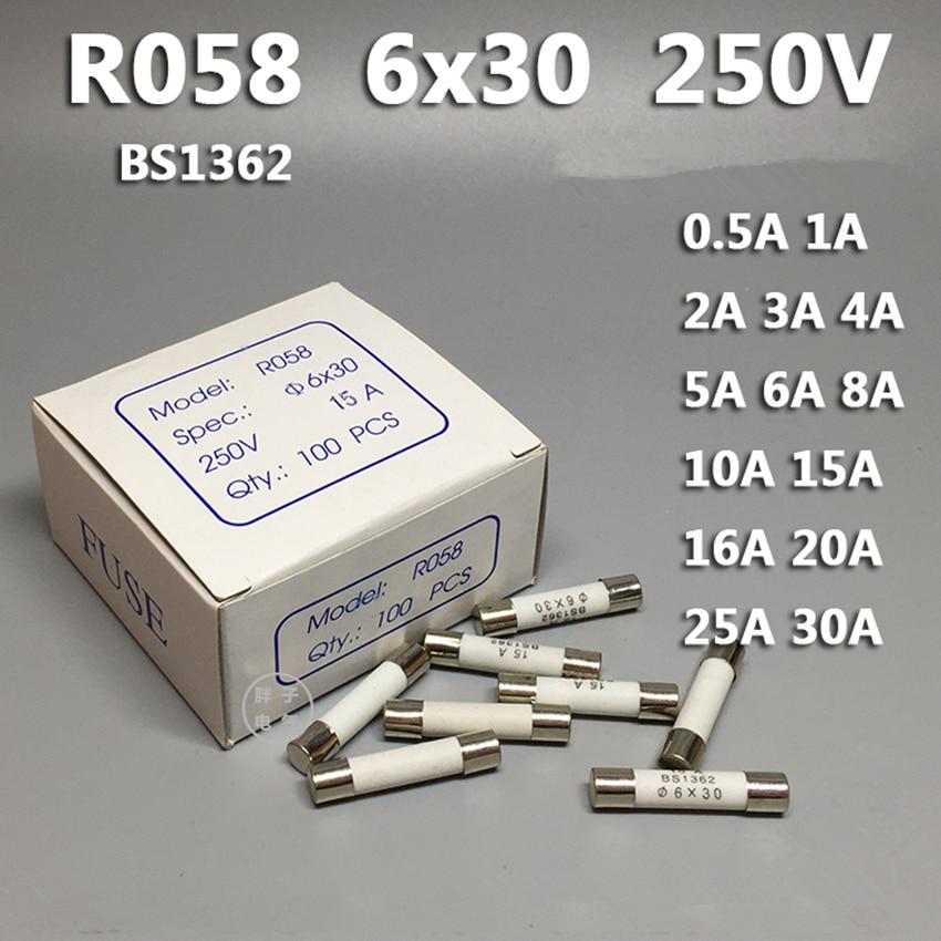 10 Pcs RO58 6*30mm flink Keramik Sicherung 6x30 Sicherung 250 V 0.5A 1A 2A 3A 4A 5A 6A 8A 10A 13A 15A 16A 20A 25A 30A