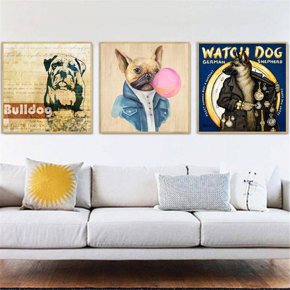Cuadro de perro Bulldog con impresiones, arte de pared, lienzo, decoración para...