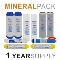 mineralization reverse osmosis system replacement filter sets 10 filters with 75 gpd ro membrane element 1 year supply