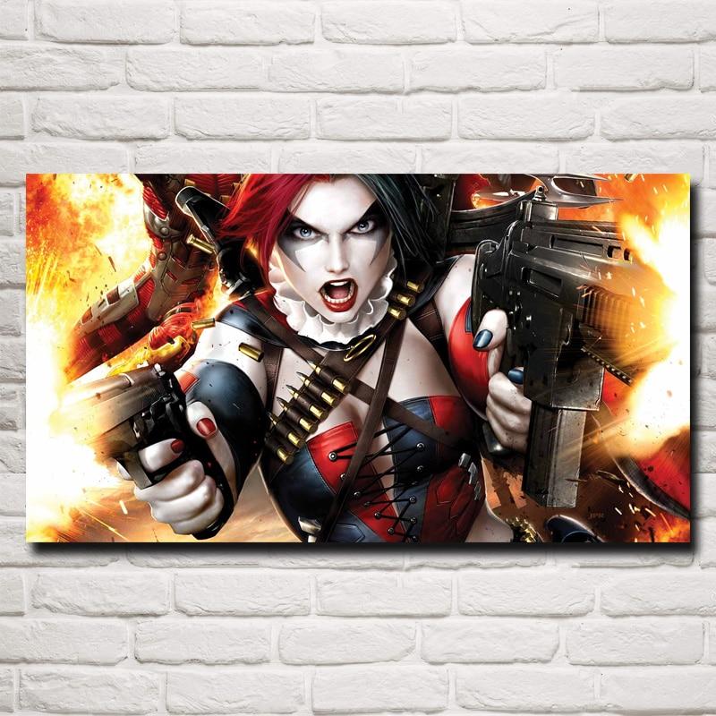 FOOCAME Comics Catwoman Harley Quinn veneno Ivy arte impresión de cartel de seda foto decoración de la pared de Casa pintura 11x20 16x29x20x36 pulgadas