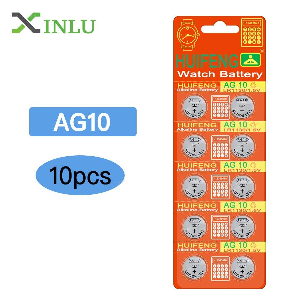 10 stücke/lot AG10 LR1130 389 LR54 SR54 SR1130W 189 L1130 taste Cell-münze Batterie für uhr, 10 stücke AG10 XINLU batterie