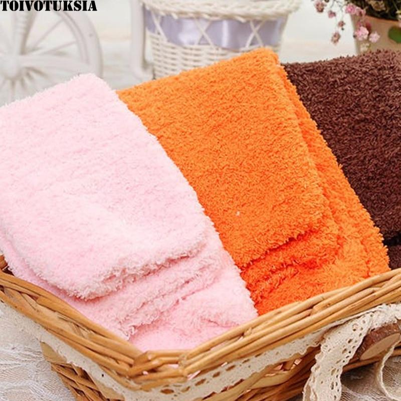 Теплые носки TOIVOTUKSIA, теплые одноцветные Пушистые Носки для дома, пушистые женские носки для зимы, теплые женские носки