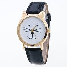Belle chat visage genève montres femmes bracelet en cuir analogique enfants enfants horloge dames Quartz montres Relogio Feminino