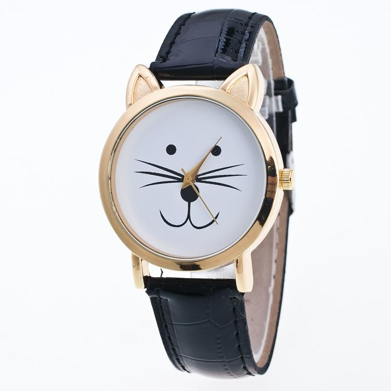Relojes Geneva con esfera de gato bonitos, reloj analógico de cuero con correa para mujeres y niños, relojes de pulsera de cuarzo para mujeres