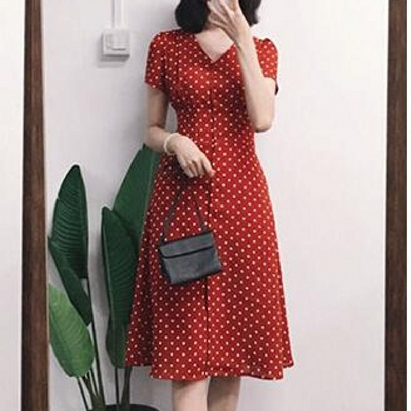 2018 Hepburn túnica mujeres vestido de gasa elegante hermoso vestido impreso rodilla-longitud señora ropa femenina de moda Rojo Negro XL