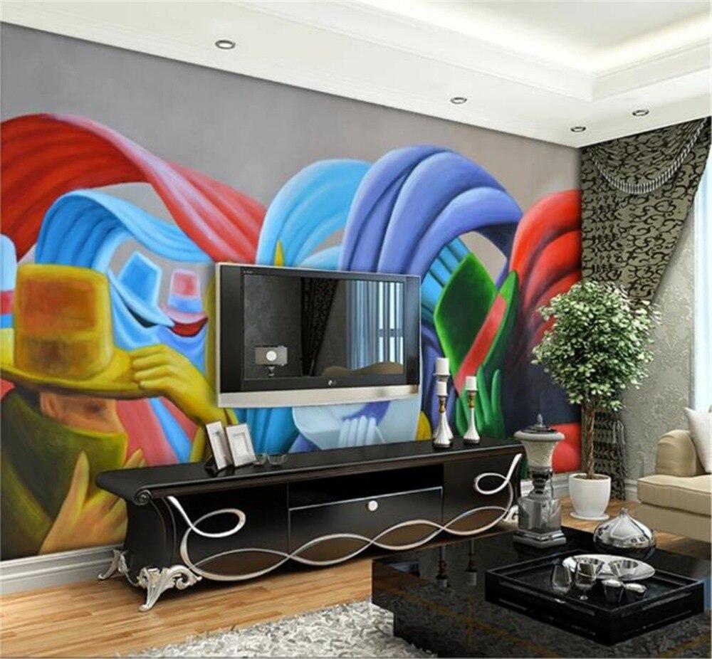 Chapéu de Papel Mural HD gigante caráter criativo pintura a óleo art mural papel de parede decoração de interiores papel de parede bonito