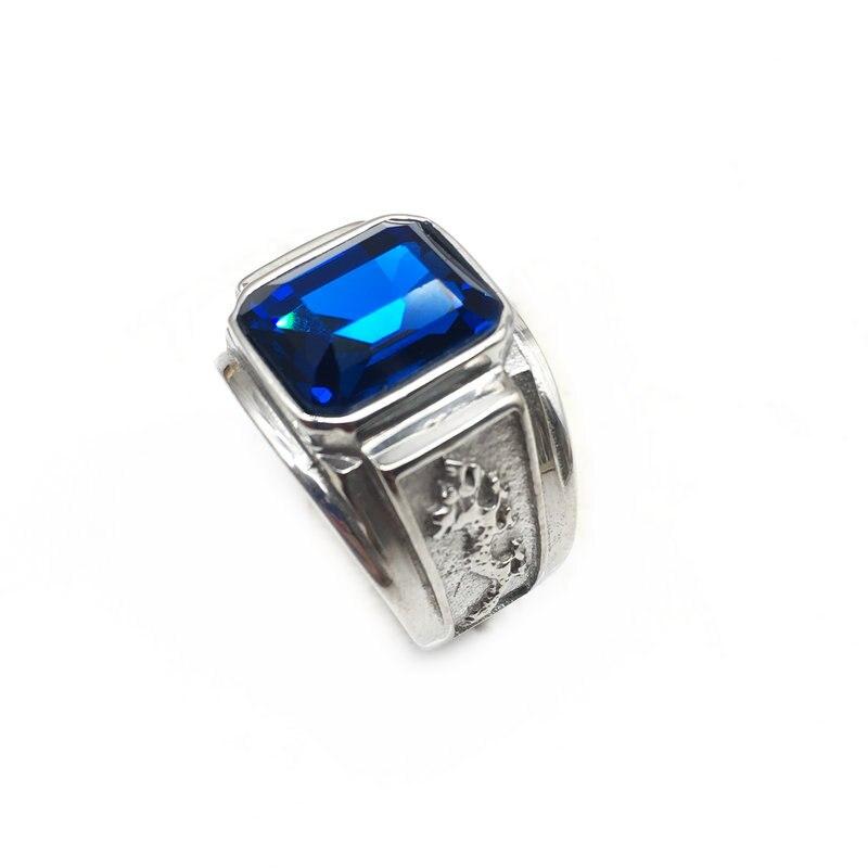 Anillo tótem de dragón de acero inoxidable de estilo Retro para hombre, anillos de boda de fiesta de piedra de cristal, 3 colores, envío gratis R-040
