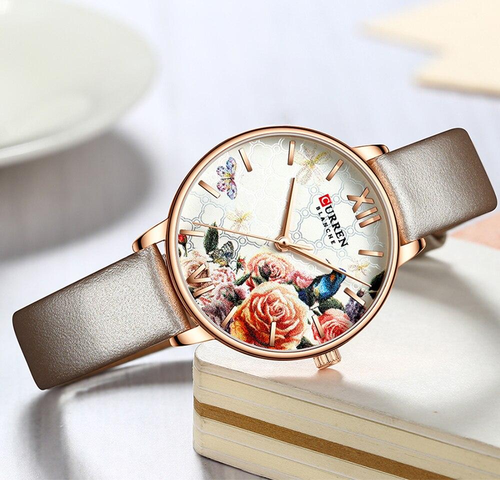CURREN Beautiful Flower Bird Women Watch Fashion Casual Slim Analog Grey Leather Wrist Watches Ladies Dress Female Quartz Clock enlarge