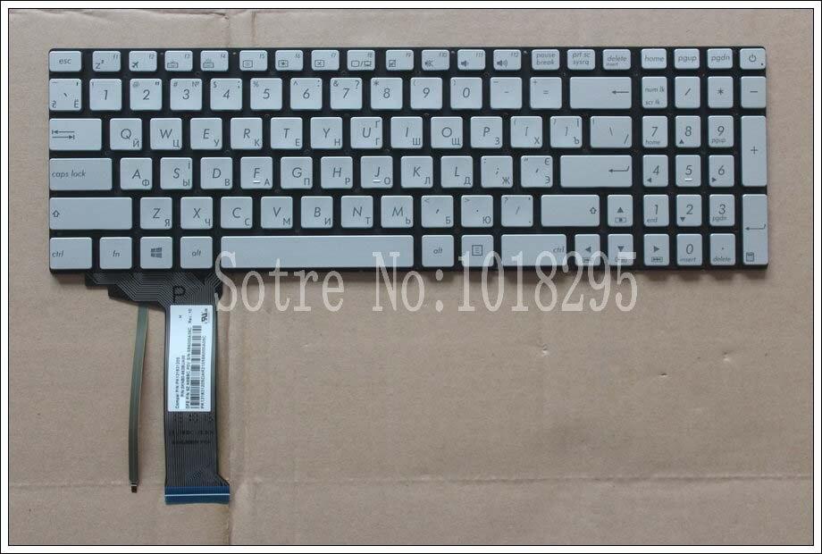 جديد للوحة مفاتيح الكمبيوتر المحمول ASUS GL752 GL752V GL752VL GL752VW GL752VWM ZX70 ZX70VW الخلفية الروسية RU الفضة