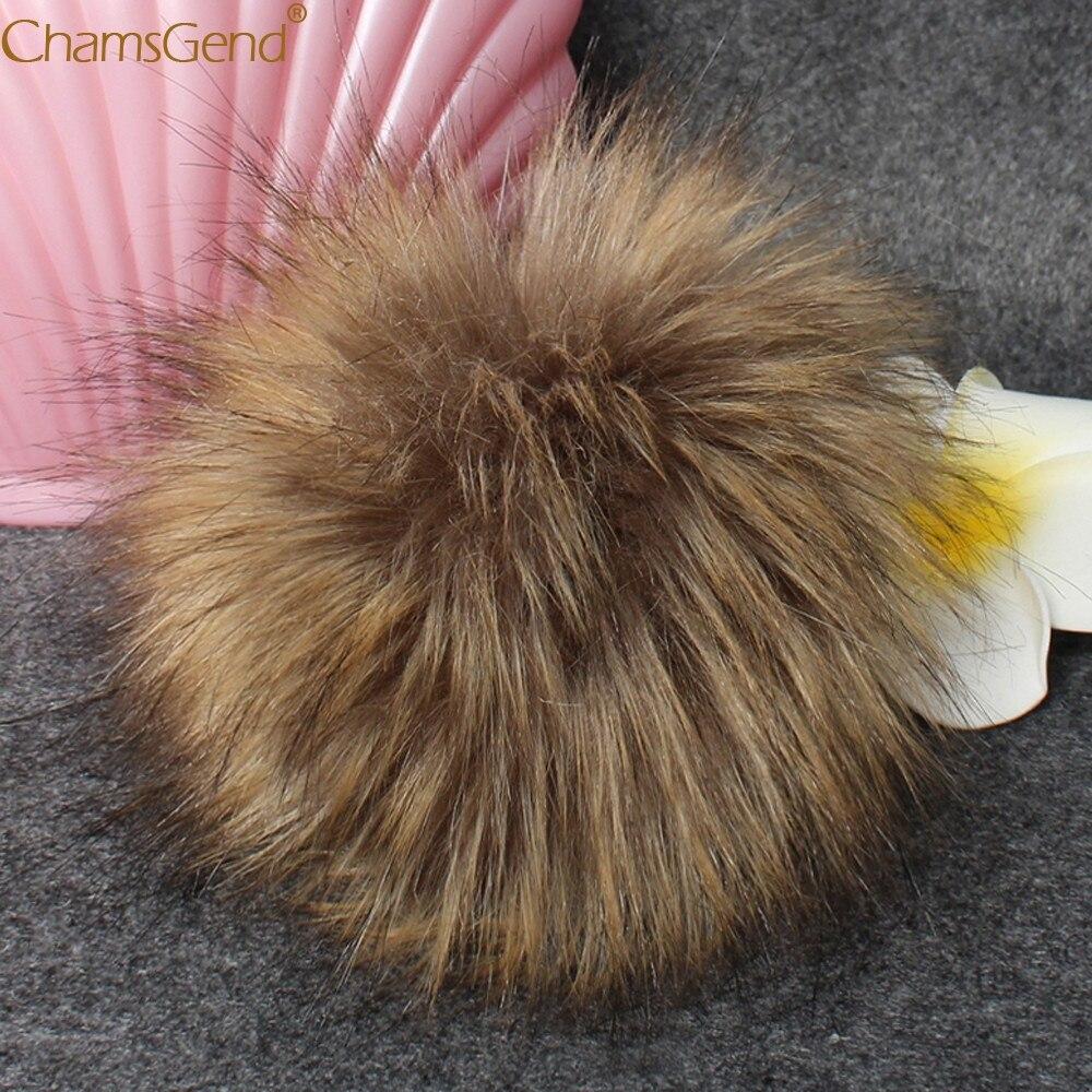 Chamsgend DIY 1 pieza 10CM Faux Foxes Fur Fluffy pompón Ball para tejer sombreros gorras 80117