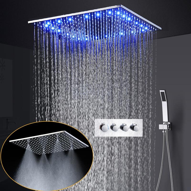 الحمام الفاخرة دش مجموعة 20 بوصة السقف المطر سبا ضباب طائرة دش نظام LED درجة الحرارة دش رئيس 3 طريقة صنبور