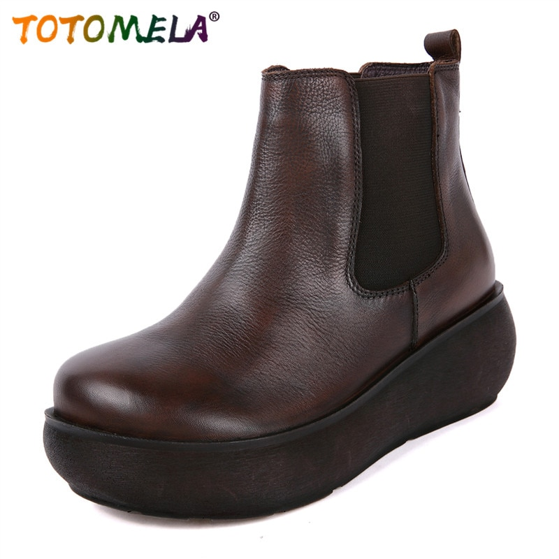 Totoela 2019 nuevas botas de tobillo de plataforma de cuero genuino vintage zapatos planos étnicos zapatos casuales punta redonda cómodos zapatos de invierno para mujer