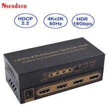 Convertisseur de commutation HDMI avec Scaler Audio, séparateur HDMI 4K HDR 2x2 K x 2K 60Hz 2 en 2
