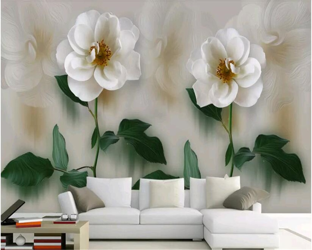 beibehang Custom size modern minimalist beautiful hand-painted flower oil painting style stereo sofa TV background wall