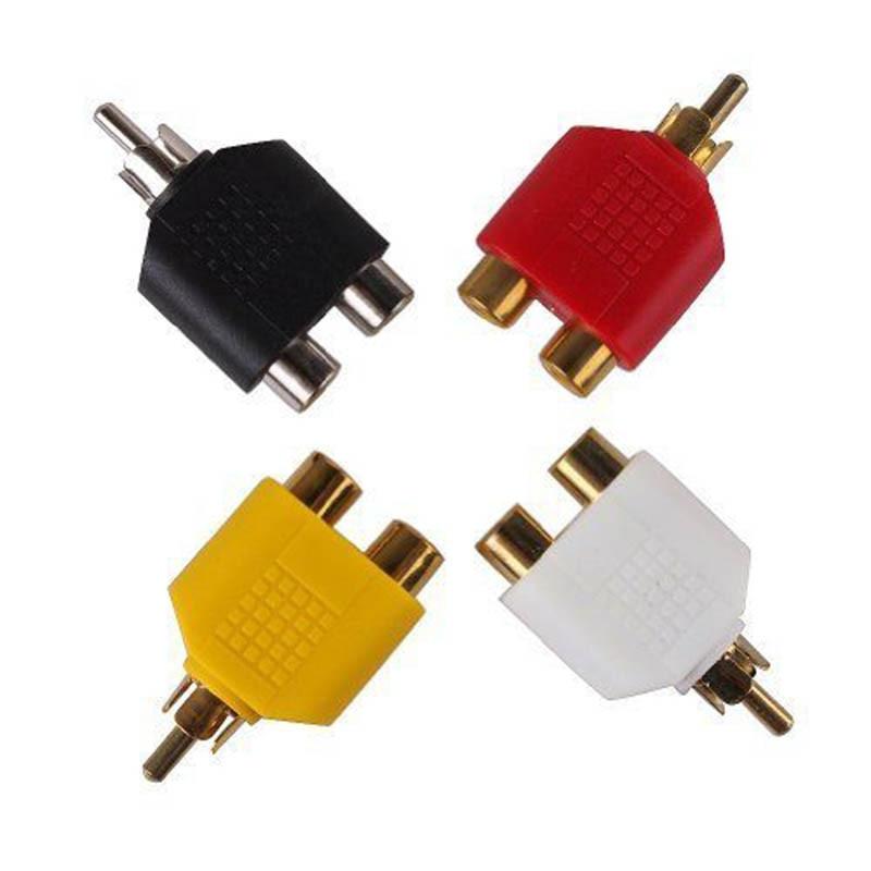 Pro 4pc RCA jack Y Splitter AV Audio Video enchufe Adaptador 1 macho a 2 convertidor hembra