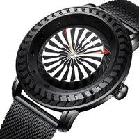 Creative Unique Men Watch Rotating Dial Turntable Bezel Quartz Watch Full Black Casual Male Montre Wristwatch Relogio Masculino