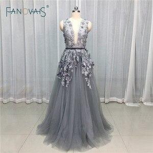 Grey Blue Evening Dresses Deep V Neck Flower Crystal Beaded Formal Evening Gown Prom Dress Vestido de Fiesta