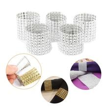 10/50 STKS Zilver Fonkelende Diamant Mesh Wrap Bling Diamant Strass Mesh Wrap Servetring Stoel Band Bruiloft decoratie