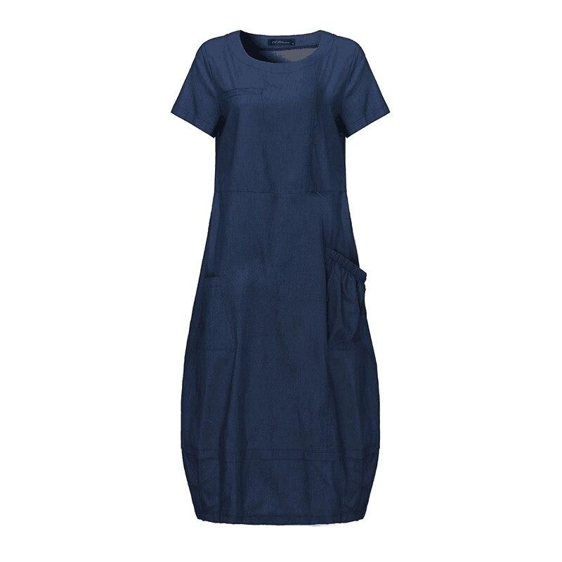 SCHMICKER Women Summer Short Sleeve Oversize Solid Loose Denim Dress Plus Size Overalls Female Korea Elegant Jeans Midi Dresses