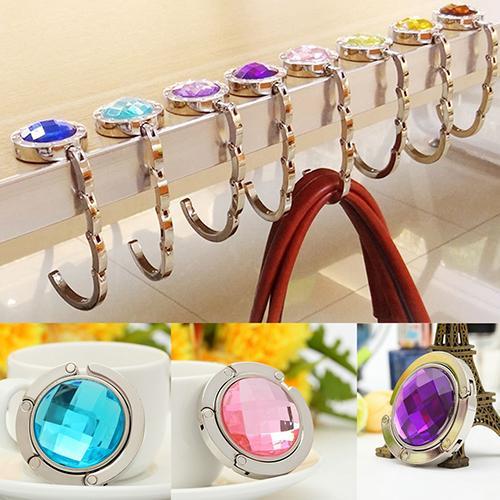 Bolso plegable, bolso, colgador práctico gancho para mesa, Soporte redondo con diamantes de imitación, gancho para mesa con diamantes de cristal creativo plegable