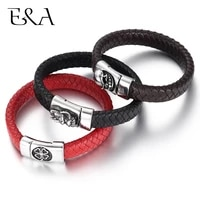 mens punk jewelry braided leather bracelet brown black red stainless steel 3d skull magnet clasp for man handmade woven bangle
